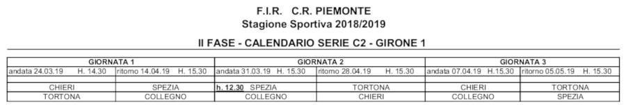 Calendario Seconda Fase Campionato Serie C2 Piemonte-Liguria